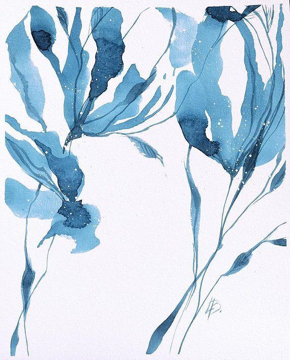 Blue Original Watercolor Art Blue Watercolor Painting Original