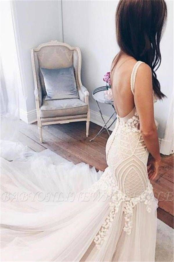 Mermaid V Neck Wedding Dresses Sleeveless Open Back Bridal Gowns With Buttons W Backless Lace Wedding Dress Macys Wedding Dresses White Bridal Shower Dress