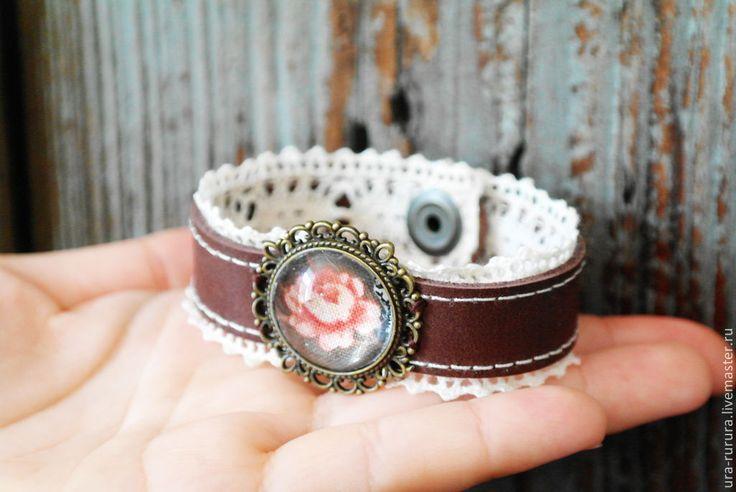 """Браслетик """" Винтажный"""" - браслет,винтаж,винтажный браслет,кружево,натуральная кожа"""