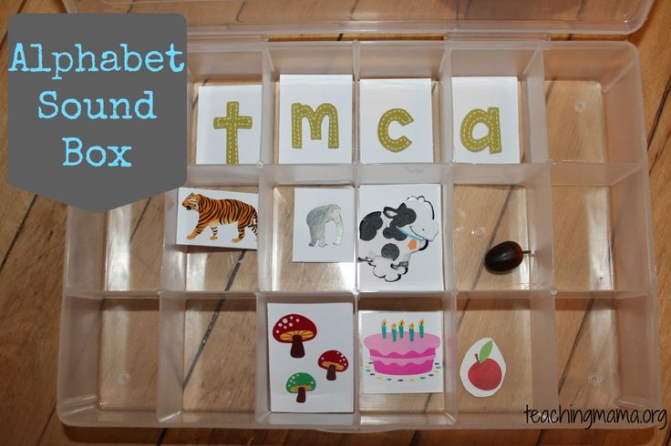 Teaching Mama: Alphabet Sound Box-Recognition of phonetic sounds of alphabet letters. Pinned by SOS Inc. Resources. Follow all our boards at pinterest.com/sostherapy for therapy resources.