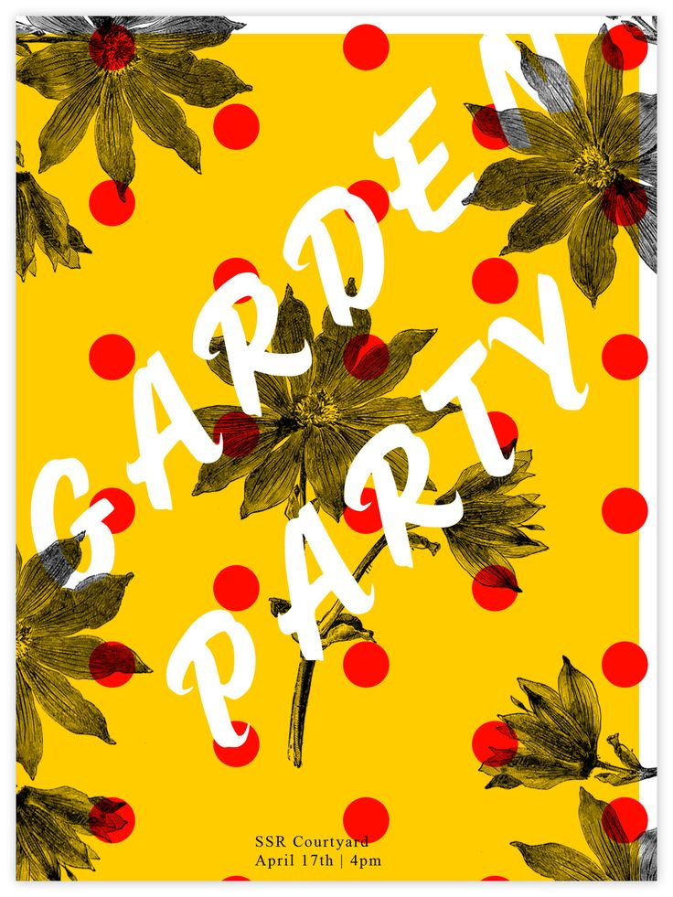 garden party design invitation typography poster