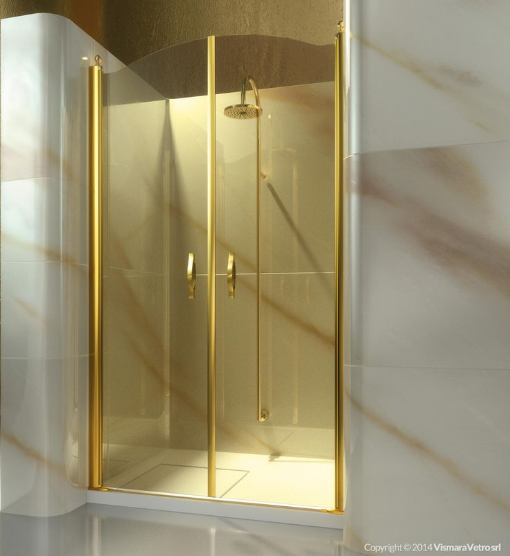 Frameless shower enclosure for recessed shower trays with a 180° pivot door. | Shower enclosures Gold by @vismaravetro | AD