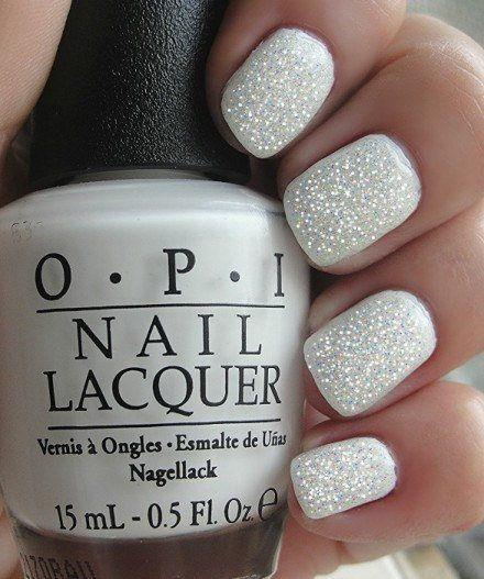 White Fairy Manicure~OPI Alpine Snow, OPI top coat Mini,Opi shimmer Nail Polish