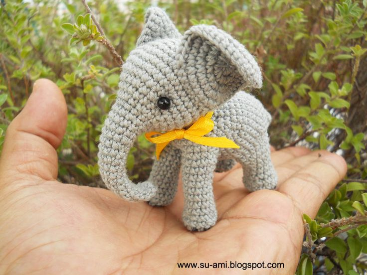 Crochet Elephant -  Grey Elephant Miniatures with Yellow Bow - Made To Order. $45.00, via Etsy.