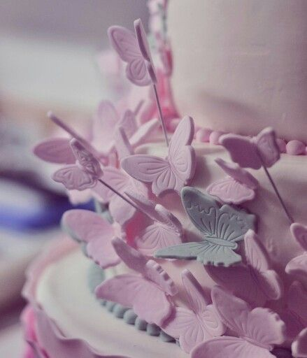 Butterflies cake in minth and dusty pink