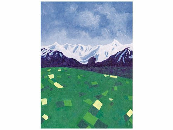 'Canterbury' note card, art print of New Zealand landscape by AnnaCullArt