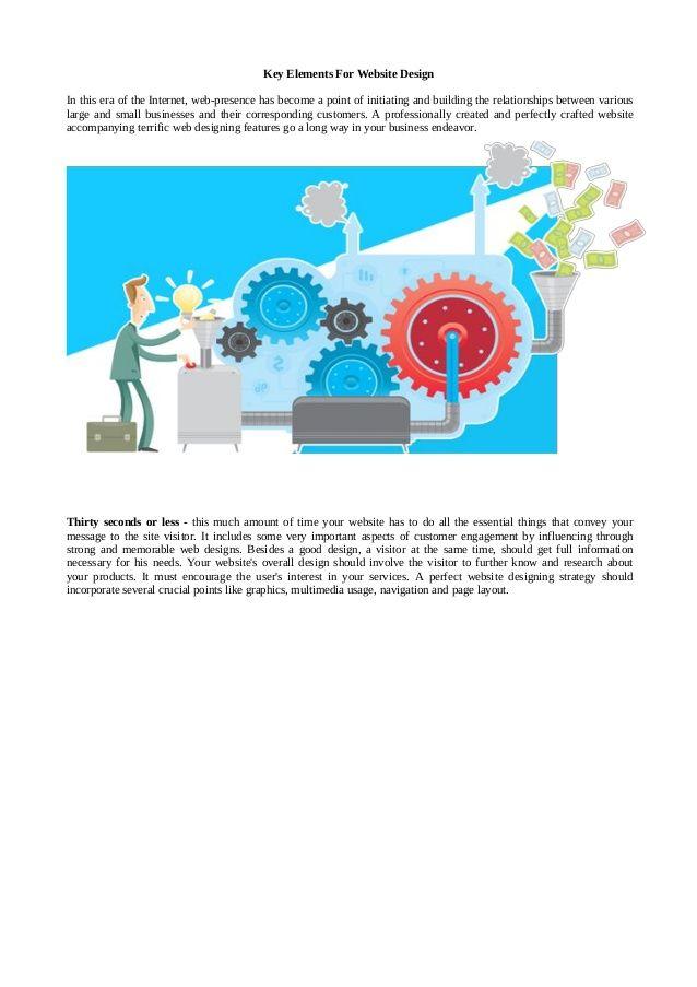 Key elements for website design by #WebCrayons via slideshare www.webcrayons.biz