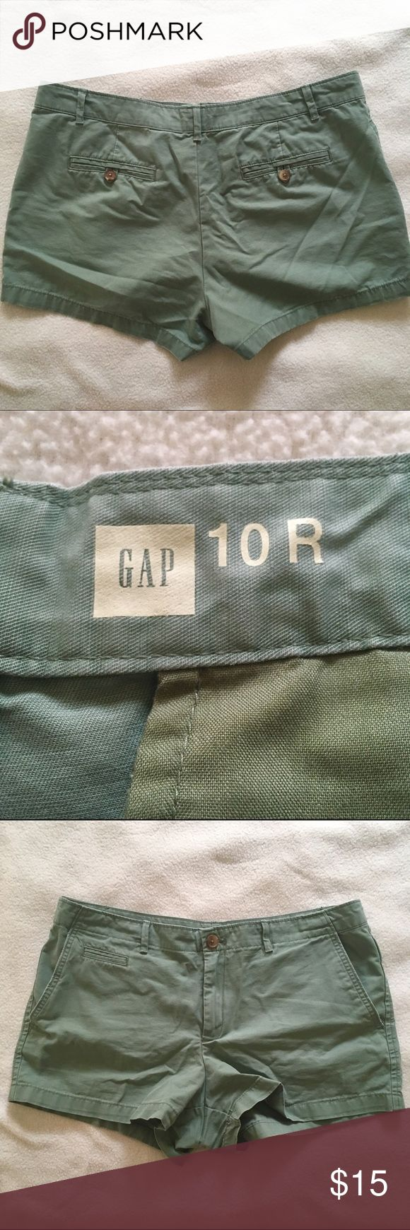 "Gap Olive Green Shorts Cute little olive green shorts from Gap! Size 10, with a 2.5"" inseam. Hip pockets, tiny front pocket and two back pockets with button closure. Purchased at the end of last season and never worn, but they don't fit me this spring 😫. Perfect condition! GAP Shorts"