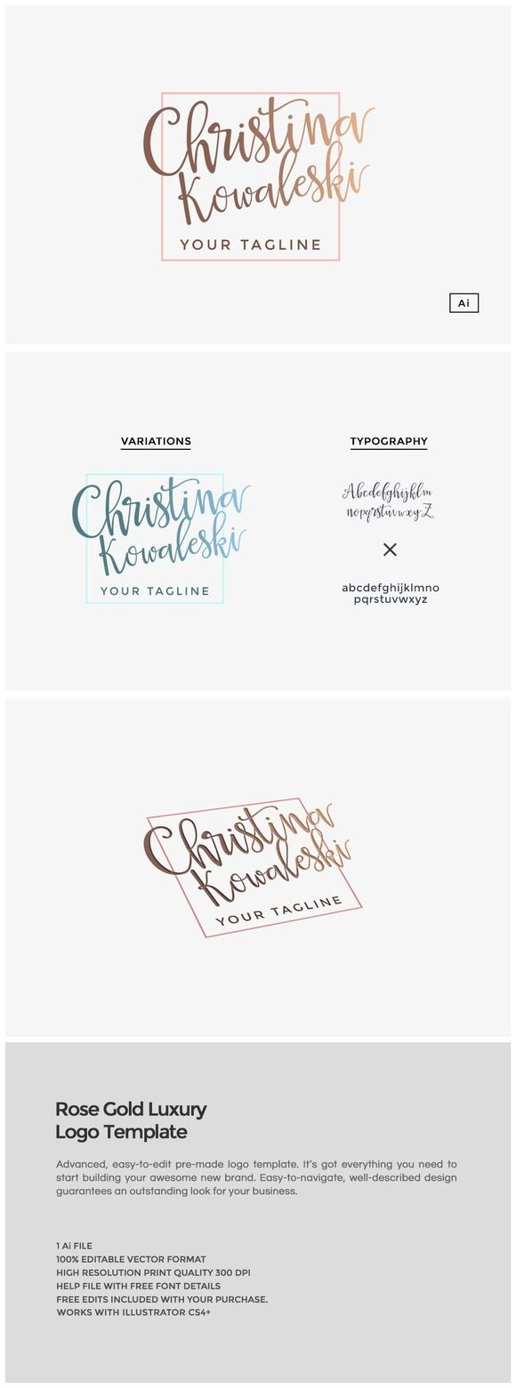 Rose Gold Luxury Brand Logo Template  This easy-to-use logo template will add a unique character your brand name. The download includes the design in .AI vector format. Color and text ch... https://creativemarket.com/MeeraG/501104-Rose-Gold-Luxury-Brand-Logo-Template