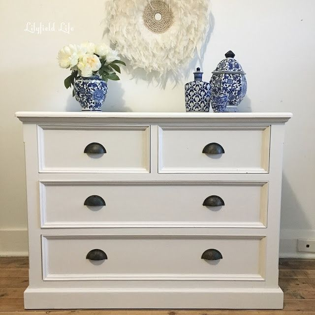 Good white chest of drawers hand painted Lilyfield Life