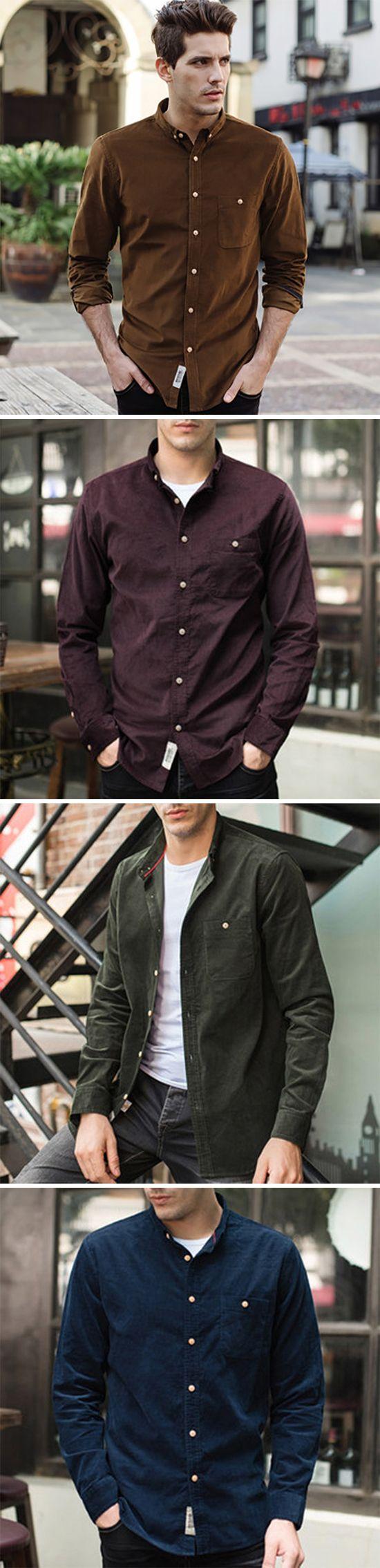 Fall Corduroy Casual Shirt for Men:  Long Sleeve/ Button Up