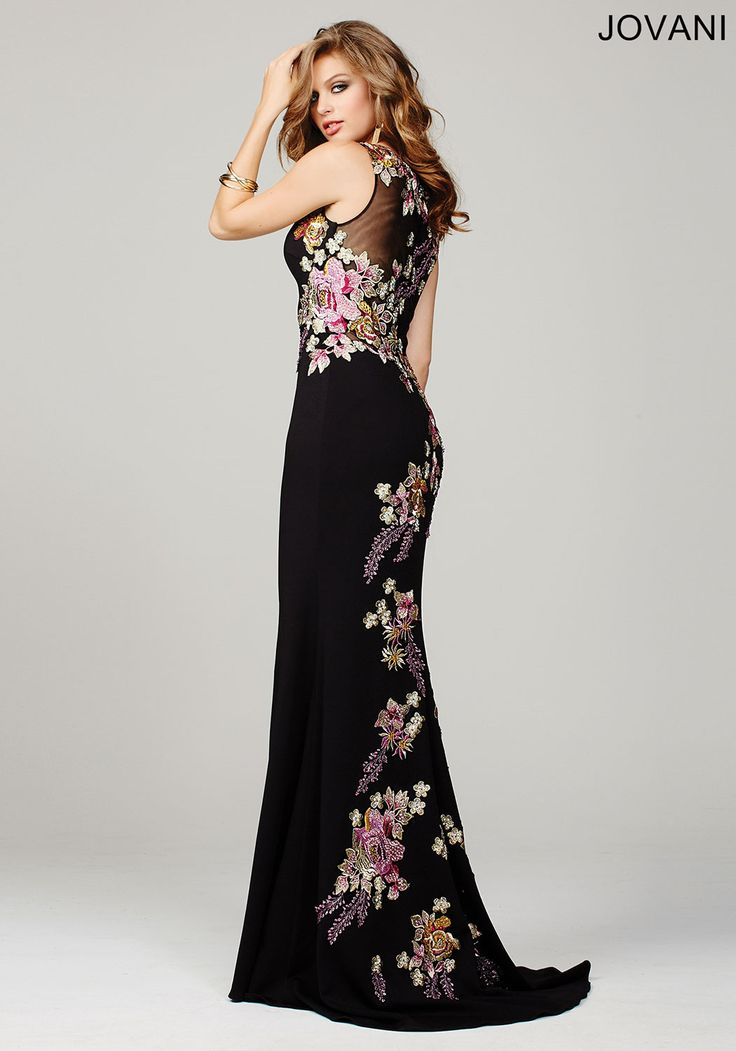 Stand out in the prom crowd with floral print details on this jersey gown by Jovani