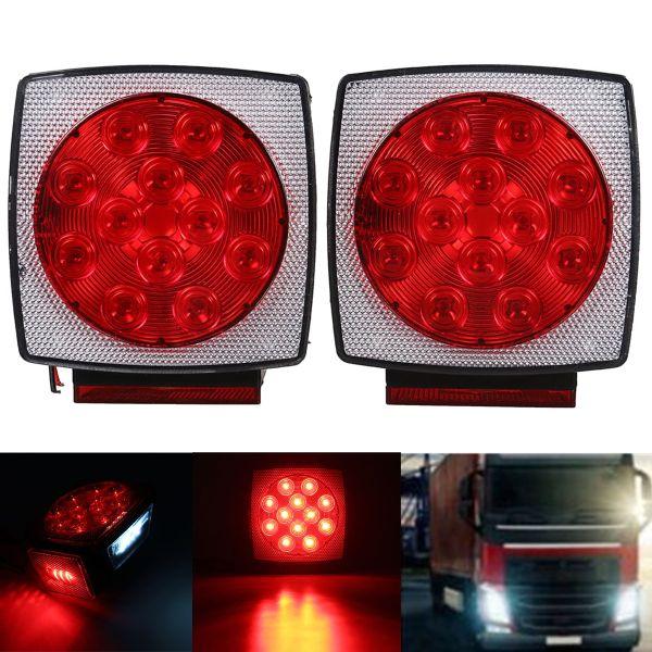 Remolque de camión 12V LED Freno trasero cuadrado Lámpara Cola Placa Luces Montaje de perno prisionero Rojo Naranja Blanco