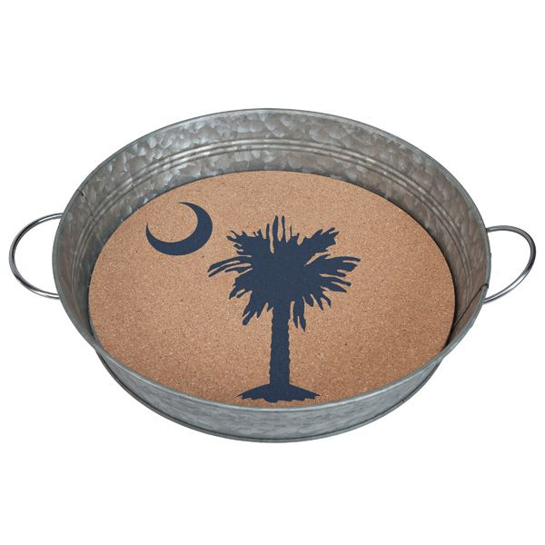 Serving Tray with Removable Cork Insert-Palmetto Moon - Occasionally Made - Classic Gifts with a Trendy Twist!