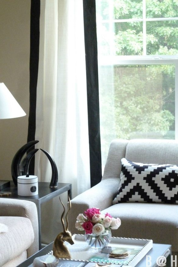 Black And White Curtain Diy Living Room