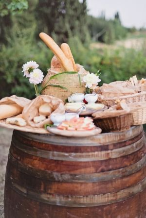 Appetizers on Wine Barrel Tuscany Wedding   photography by http://rochellecheever.com