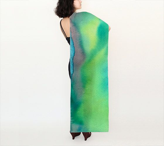 Long Womens Silk Chiffon Silk Scarf with a bright green and blue design made…