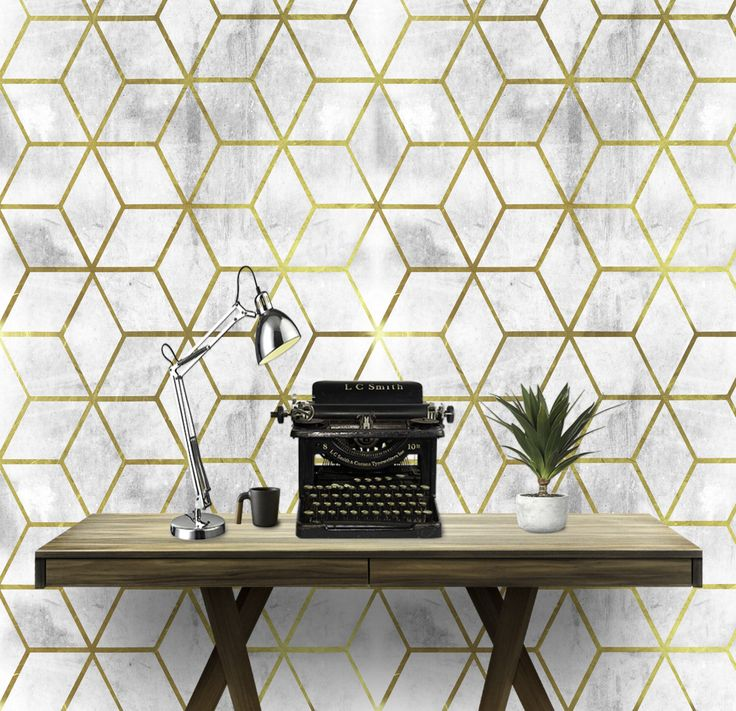 Gold Geo Cement Wall Covering Art  Removable Self-Adhesive Wallpaper by ArtPaperCo on Etsy https://www.etsy.com/ca/listing/502148307/gold-geo-cement-wall-covering-art