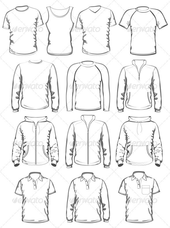 Collection of men clothes outline templates graphicriver for Clothing templates for illustrator