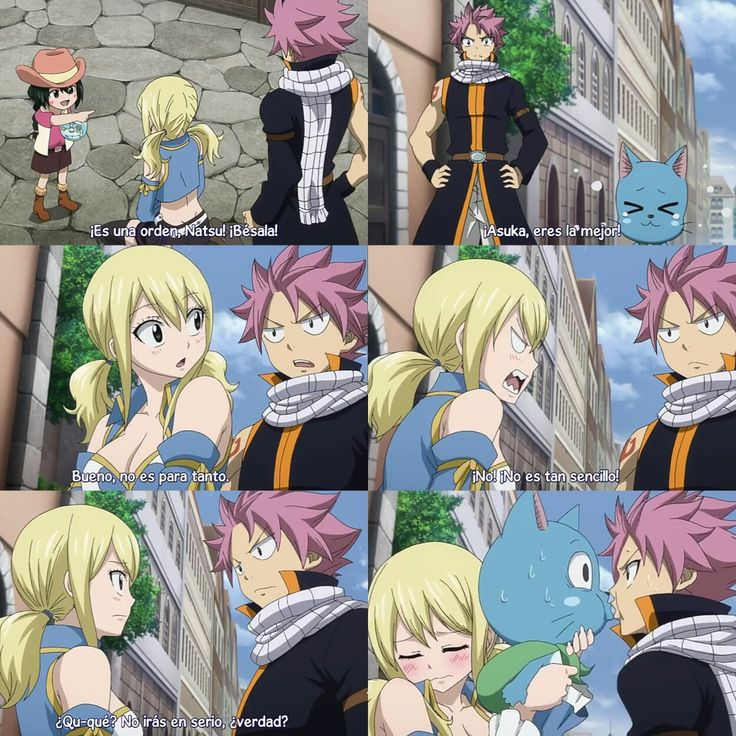 Lucy Heartfilia y Natsu Dragneel: beso | Fairy tail anime ...