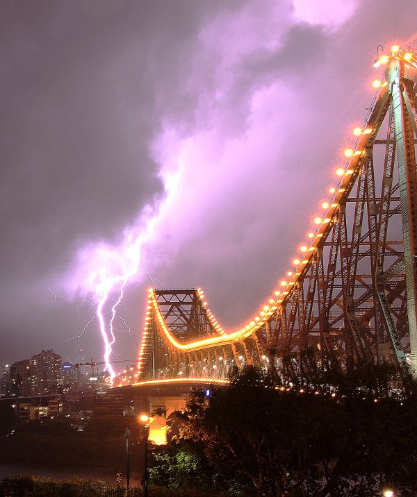 Lighning at Storey Bridge, Brisbane, Queensland.  Submitted by: Jeremie Clarke-Okah   24/11/2012
