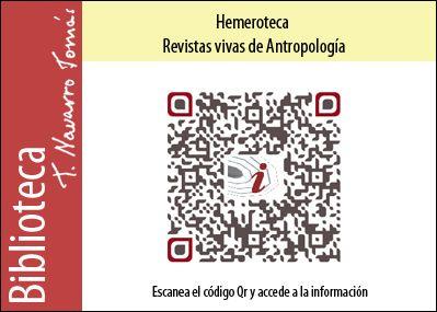 Hemeroteca: Código QR de acceso a la colección de revistas vivas de Antropología, de la Biblioteca Tomás Navarro Tomás.