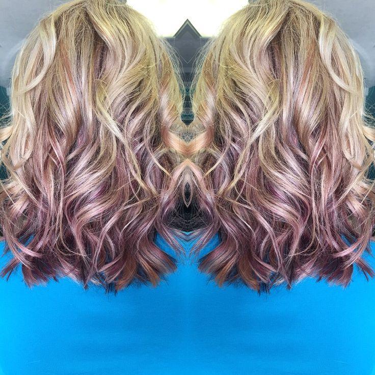 Purple and blonde balayage