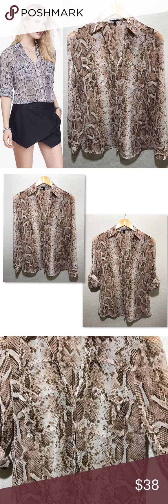 """Express Snakeskin Portofino Long Sleeve Blouse Excellent used condition. Taupe/brown colored snakeskin portofino top. I absolutely love all of Express' portofino tops! They are the definition of versatile. Perfect for a casual day, work day or night out! Semi sheer fabric. Material - 100% polyester Measurements laying flat - pit to pit(18.5"""") length(28"""") Express Tops"""