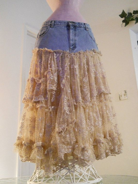 Belle Bohémienne jean skirt exquisite vintage lace ruffled  frilly frou frou Made to Order  fairy Renaissance Denim Couture