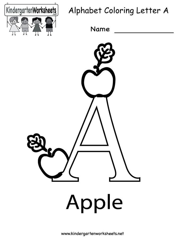 Letter A Coloring Worksheet - Free Kindergarten English Worksheet for Kids