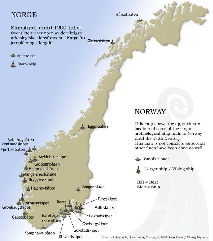 Map of Viking ship finds in Norway. There are said to be hundreds of unexcavated ship burials in Scandinavia.  36