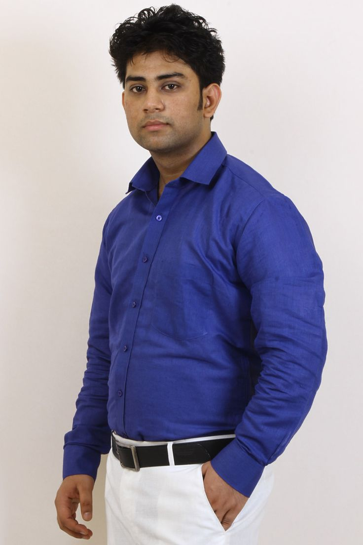 Buy Royal Blue Casual Wear Shirt For Men Online in India