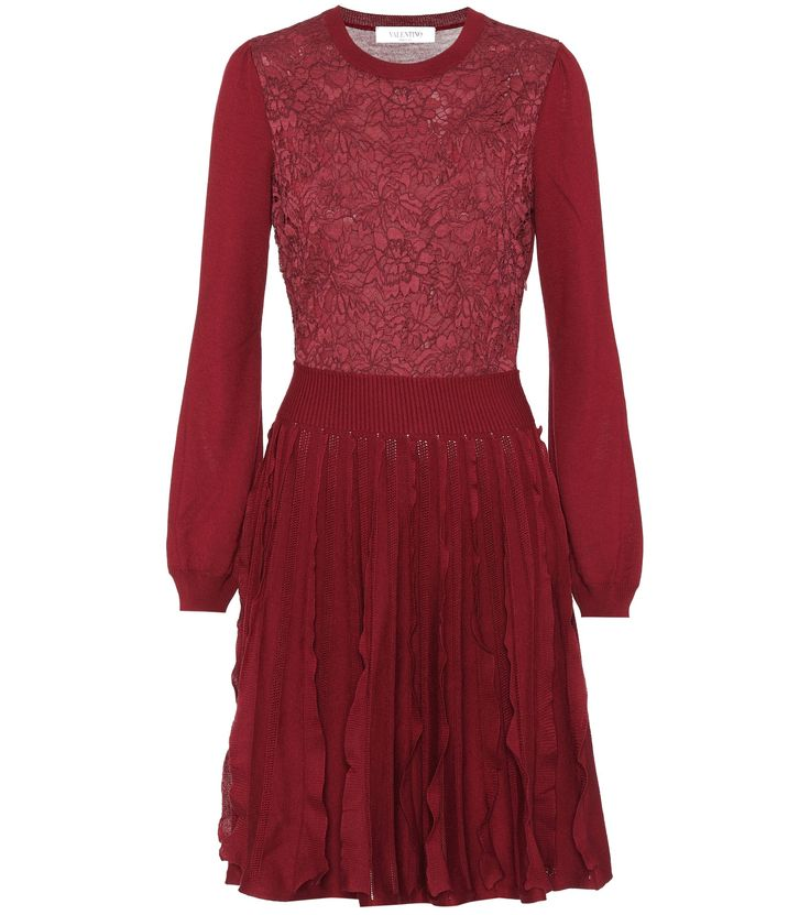 GABRIELLE'S AMAZING FANTASY CLOSET | Valentino's Burgundy Wool Woven and Knit Dress has a Round Neckline, Balloon Sleeves and a Fitted, Lace-Paneled Bodice with a Rib-Knit Waistband.  The Skirt has Rows of Vertical Flounces and an Above-The-Knee Hem. Add a Stained Glass Patterned Shawl and Cabochon Ruby Earrings and Ring for Sparkle. Finish with Burgundy T-Strap Pumps and a Black Crocodile Clutch (It's all on this board). Raise your glasses! Cheers! - Gabrielle
