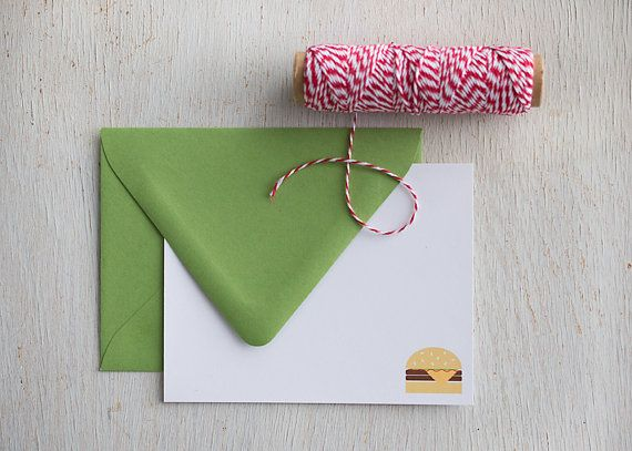 Stationery Set Snail Mail Burger Lover Gifts by FrancineandGeorgia