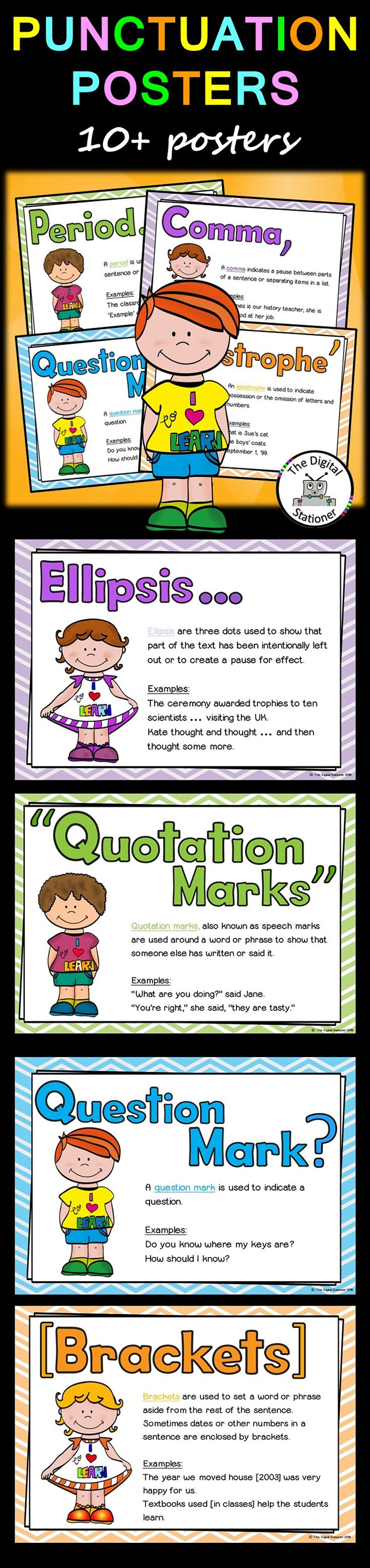 $1.50 - Punctuation posters / displays / printables. Literacy , Language Arts