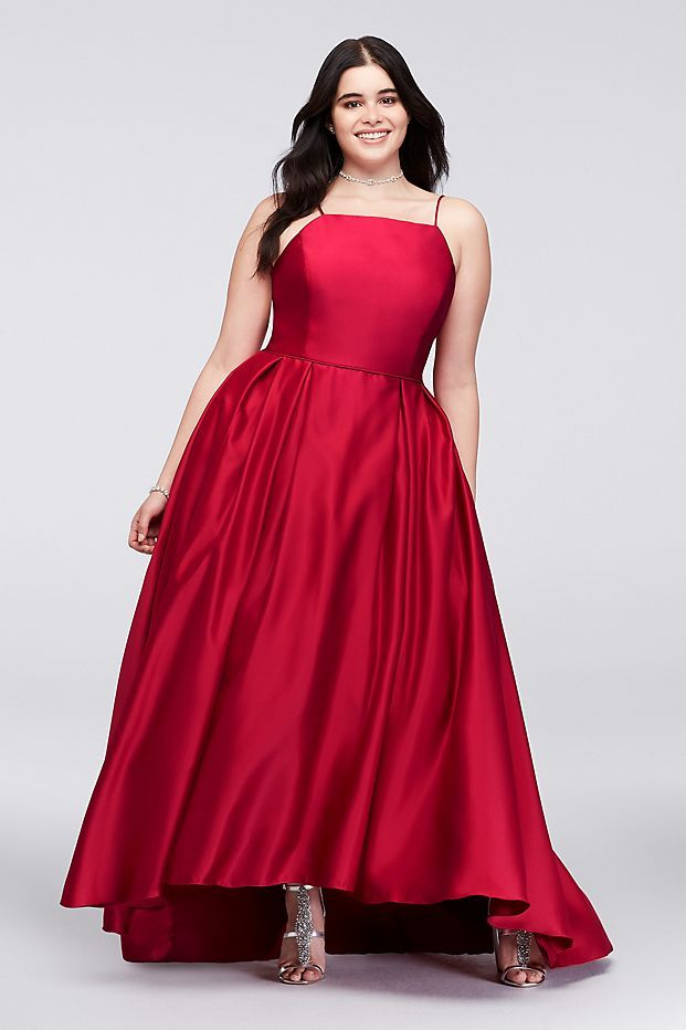 High-Neck Satin Plus Size Ball Gown | David\'s Bridal | Red ...