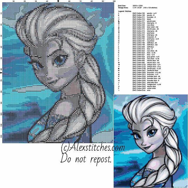 Elsa's portrait disney frozen free cross stitch pattern 100x126 40 colors