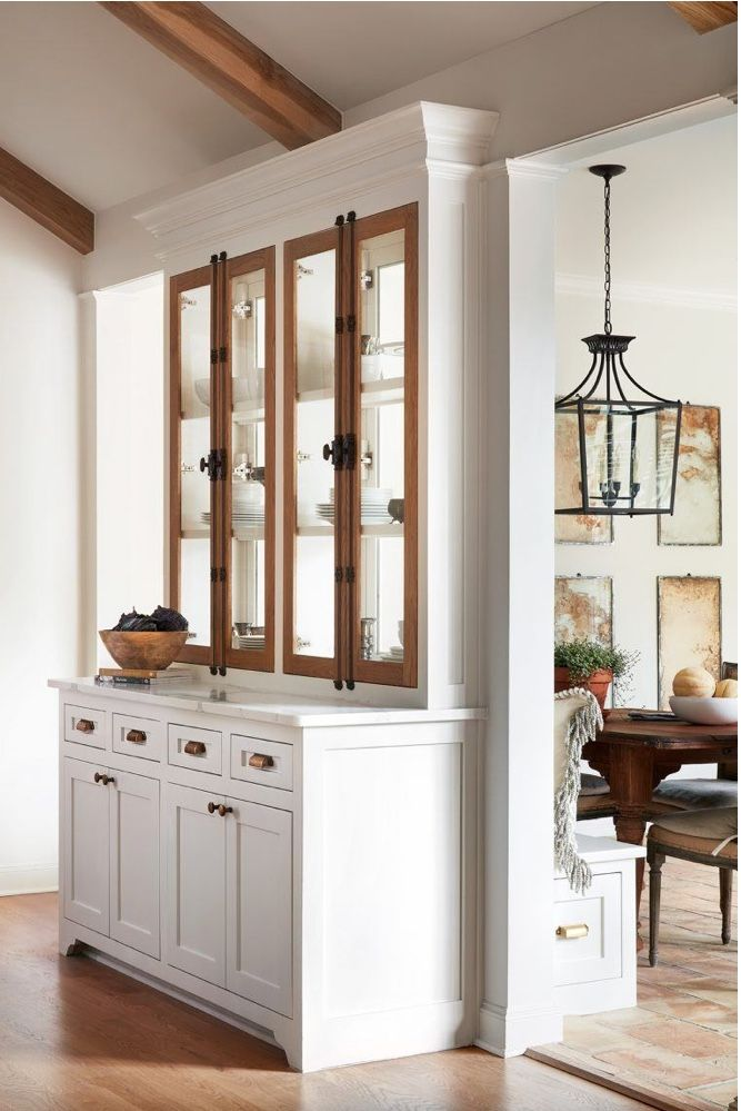 fixer upper club house; idea for cabinet storage that also opens dining and kitc…