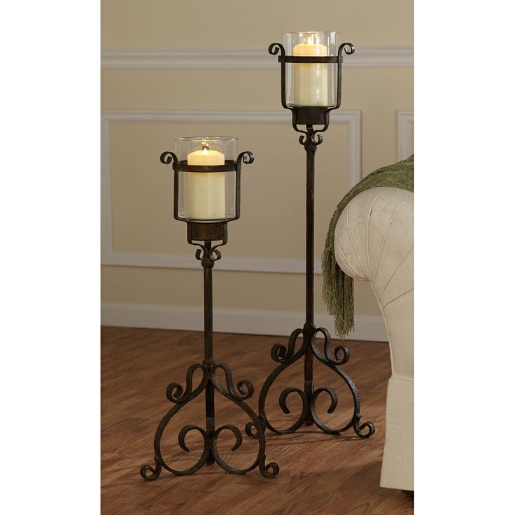 15th Century Italian Renaissance Style Medieval Metal Floor Table Candle  Holders