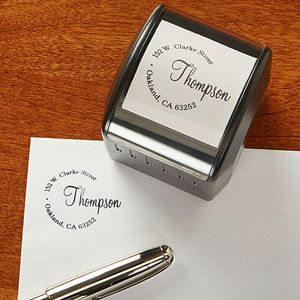"""LOVE LOVE LOVE this! It's the """"Simply Sealed"""" Personalized (self-inking!) Return Address Stamp from PMall ... they personalize it for free and you can pick out any color you'd like! This is so pretty and it will save you tons of time and money when sending out mail, thank you cards, invitations, etc. Great wedding gift idea!"""