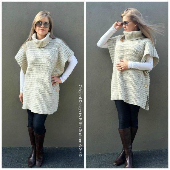 Easy Crochet Poncho Pattern Modern Style No.932 Digital ePattern Instant Download $4.00