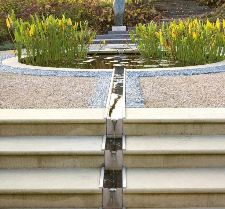 étang de jardin avec plantes aquatiques et petite cascade