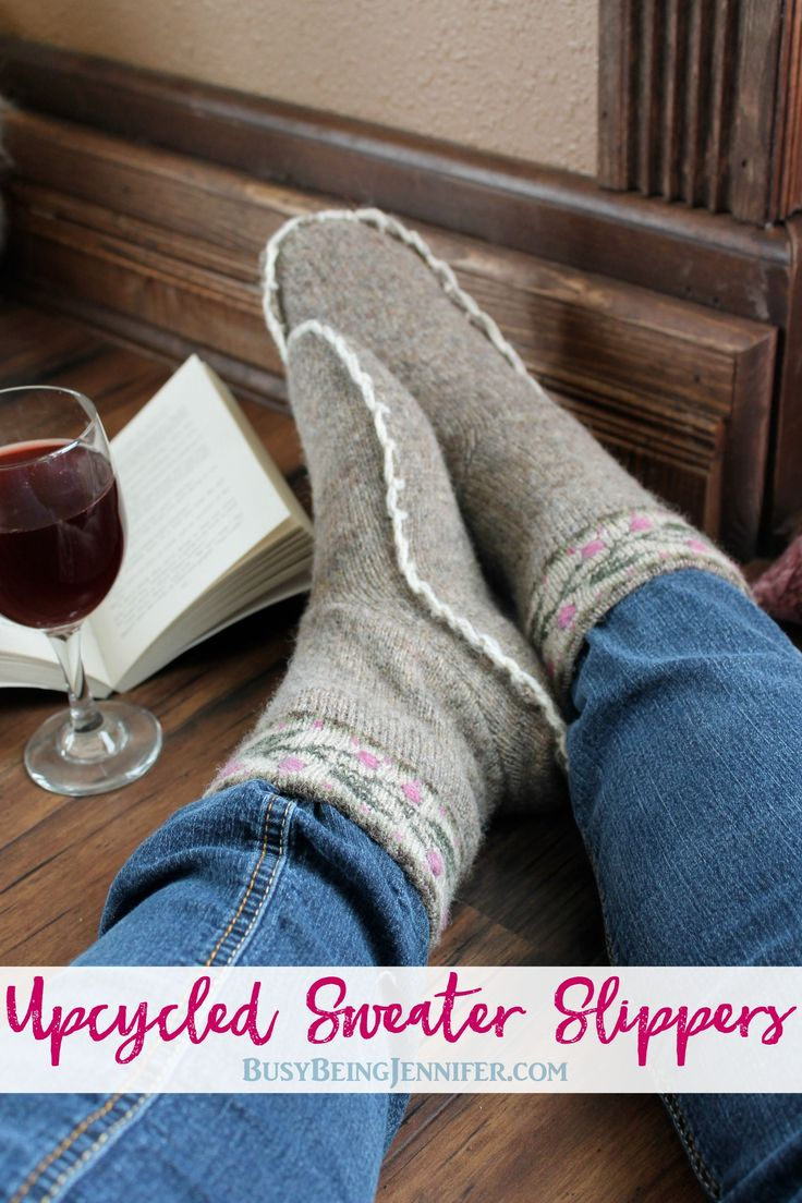 These Upcycled sweater slippers are the perfect solution to cold toes! All you need is an old sweater, needle, thread and scissors!