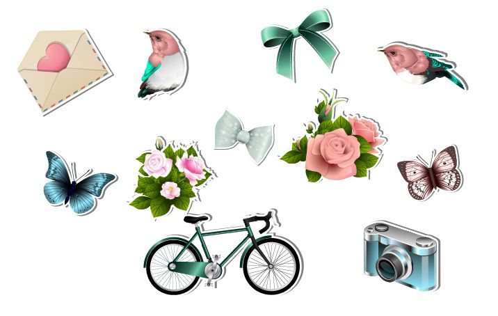 Spring Special Vector Pack #flower #bike #butterfly #bird #ribbon