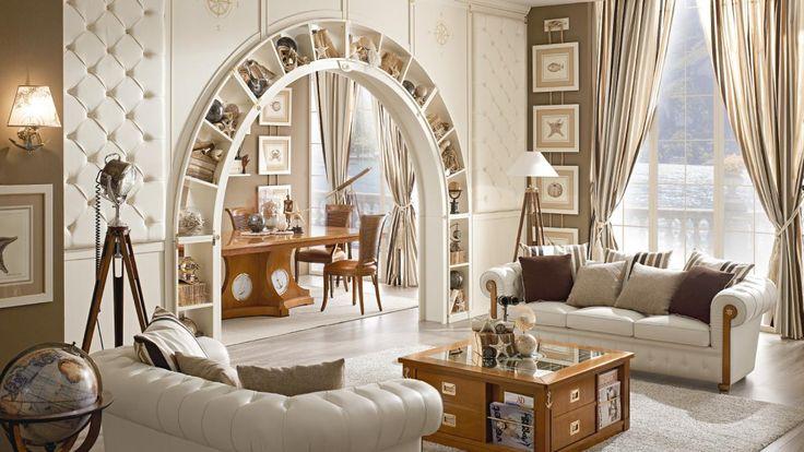 Living demi arkata with sofas chester set, patinated lacquered. Boiserie ceiling, fusion mahogany finishing. by #Caroti #VecchiaMarina #HandMade