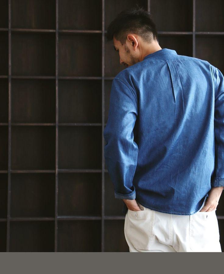 【楽天市場】【送料無料】 Audience [オーディエンス] デニムジャケット 綿麻生地 マオカラースタンドカラーノーカラー 長袖シャツ 6.6オンスデニム ブルーインディゴ メンズジャケット レディースジャケット カジュアル Mサイズ Lサイズ:PATY