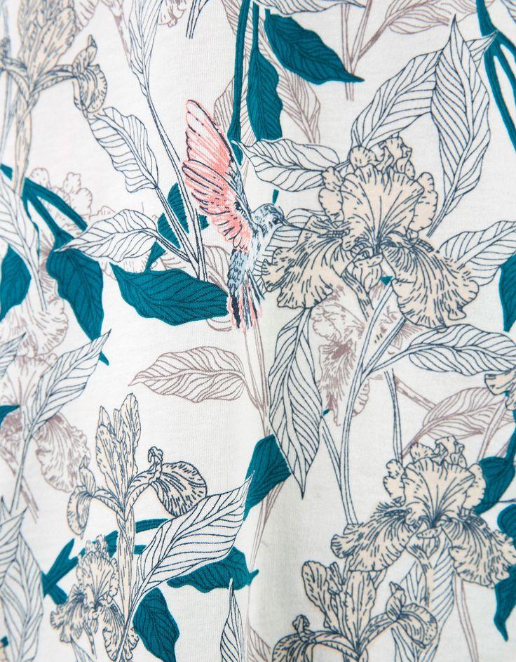 Floral print polo - T-shirts - Bershka United Kingdom