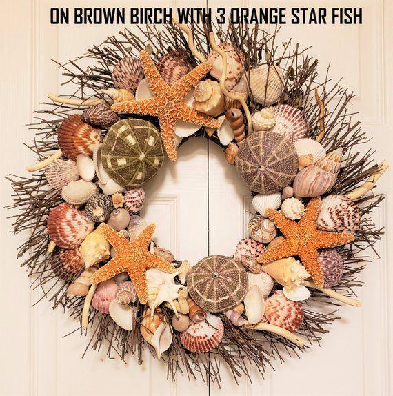 "21/"" Sea Shell Wreath on Birch Twig with Exotic Sea Urchins /& 3 Orange Star Fish"