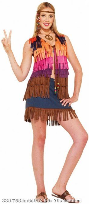 d1bc5ab0695 Fringed Hippie Vest Fringed Hippie VestTotally Groovy! Includes  Fringe vest.  This is what every flower child of the 60 s needed... peace. Available S