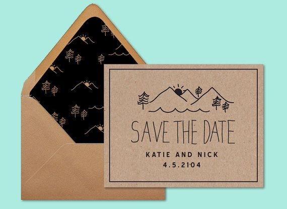 Rustic Save the Date, mountain wedding invitation, woodsy wedding, save the date, by daydream prints